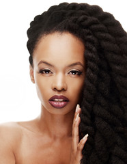 African American woman with Beautiful twisted hairstyle