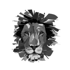 vector template isolated stylized illustration lines abstract head lion tiger wild animal black white. modern design for apparel t shirt, logo mascot emblem sport