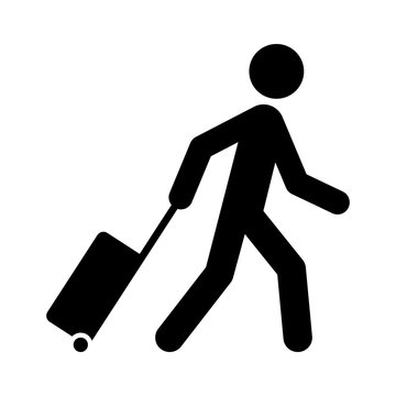 Person pulling carry-on luggage on business travel flat vector icon for apps and websites