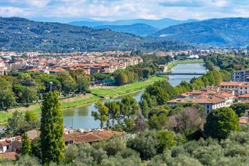 Arno River Bridges Countryside Florence Tuscany Italy