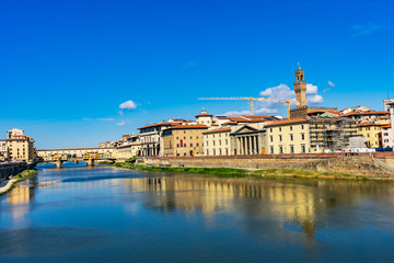 Ponte Palazzo Vecchio Arno River Florence Tuscany Italy.