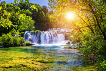 Photo sur Aluminium Cascade Beautiful Skradinski Buk Waterfall In Krka National Park, Dalmatia, Croatia, Europe. The magical waterfalls of Krka National Park, Split. An incredible place to visit near Split, Croatia.