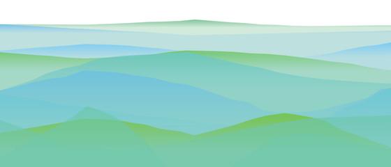 Wall Murals Green coral Farbige Berge, Wellen, abstrakte Oberfläche, moderner Hintergrund, Vektorgrafik Illustration für dein Projekt