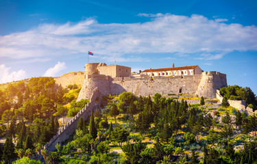The Fortica fortress (Spanish Fort or Spanjola Fortres) on the Hvar island in Croatia. Ancient fortress on Hvar island over town (citadel), popular touristic attraction of Adriatic coast, Croatia. Wall mural
