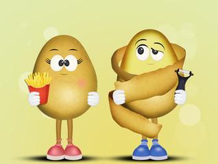 illustration of funny potatoes