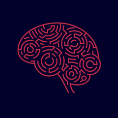 concept of creative thinking, shape of human brain combined with maze pattern