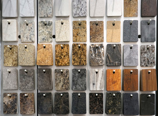 hanging granite color and pattern sample cards in the store