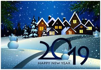 2019 poster design. Snowmen, snowy village, snowfall, houses with light through windows and fir trees