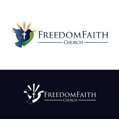 Church Faith With Flying Freedom Pigeon Logo Symbol Icon