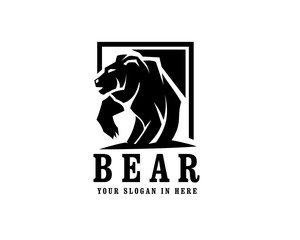 walking bear with anger logo design inspiration