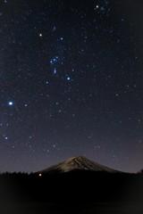 富士山とオリオン座