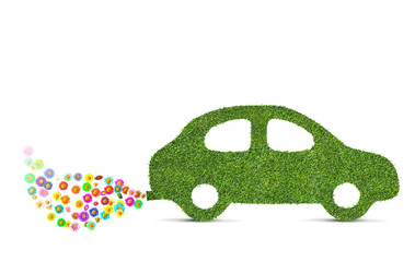 green eco friendly car concept made of grass and flowers