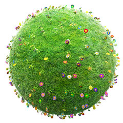 green grass and flowers planet on white background