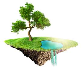 grass island 3D wirh tree and water