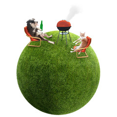 funny cat and dog having bbq on grass ball