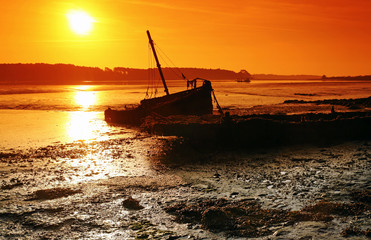 Aury river at low tide in Brittany