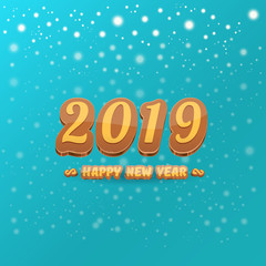 2019 Happy new year design background or greeting card with colorful numbers and greeting text. Happy new year label or icon isolated on azure background with snowflakes