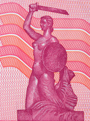 Image of the Mermaid Statue on the bank of the Vistula River from Polish money