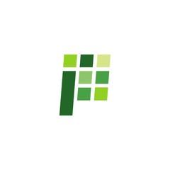 P letter logo digital sign icon illustration