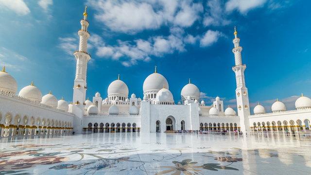 Sheikh Zayed Grand Mosque timelapse hyperlapse located in Abu Dhabi - capital city of United Arab Emirates.