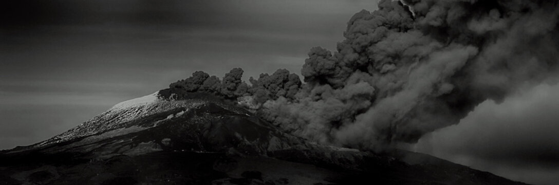 Etna eruption with cloud of ash