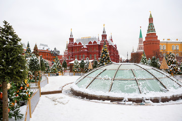 Tuinposter Aziatische Plekken Moscow, Russia, New Year. Christmas. Festive decoration of the city. Christmas trees on Manezhnaya square.