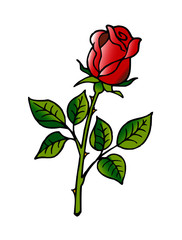 red rose flower with green petals clipart