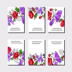 Floral set of templates for your design, greeting cards, festive