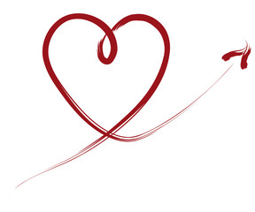 swinging heart line calligraphy graphic red valentines day