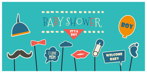 Baby boy shower party photo booth props vector elements.