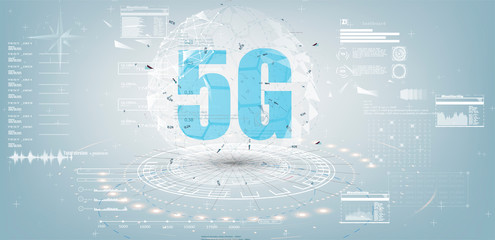 Future Technology Display Design. 5g Internet Connection Speed Sign Over Futuristic Low Poly Mesh Wireframe On white Background Vector Illustration