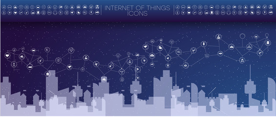 Smart city concept with different icon and elements. city design technology for living. Illustration of innovations and Internet of things.Internet of things Smart city
