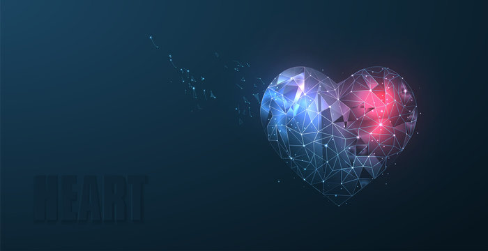 Heart. Abstract polygonal wireframe mesh art with crumbled edge on blue and red night sky with dots, stars and looks like constellation. Valentine day, greeting, health, background