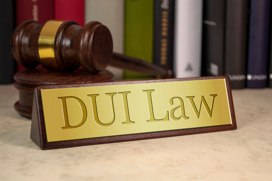 Golden sign with gavel and dui law