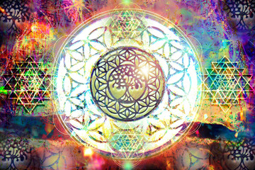 Abstract spiritual background with sacred geometry