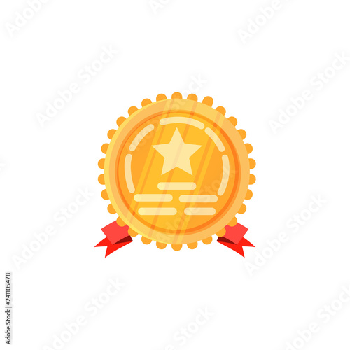 Golden round order with star illustration  Round, red band, gold