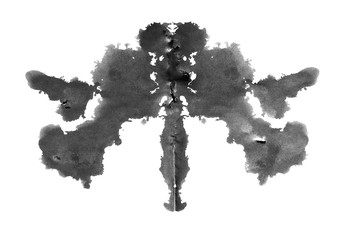 Photo Rorschach inkblot test isolated on white background Wall mural