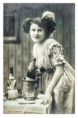 Young woman bottle champagne wine vintage dressed Retro picture