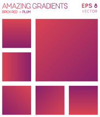 Colorful gradients in brick red, plum color tones. Adorable gradient background, favorable vector illustration.