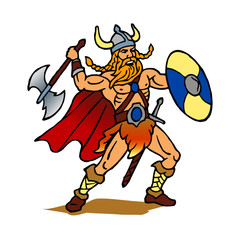 Viking warrior with ax and shield Scandinavia Denmark clipart