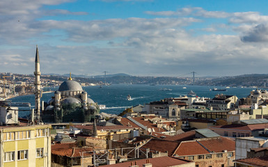 Istanbul, Turkey. 09-November-2018. Splendid view of the city of Istanbul, mosque and Bosphorus river