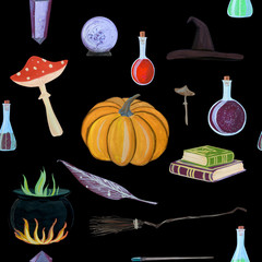gouache magic seamless pattern with magic wand, elixir, books
