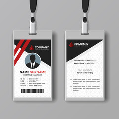 Creative business card template with red lines
