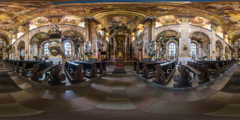 WROCLAW, POLAND - SEPTEMBER, 2018: full seamless spherical panorama 360 by 180 degrees angle view interior baroque catholic church. 360 panorama in equirectangular projection, AR VR content