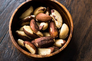Brazil Nuts in Wooden Bowl without Shell