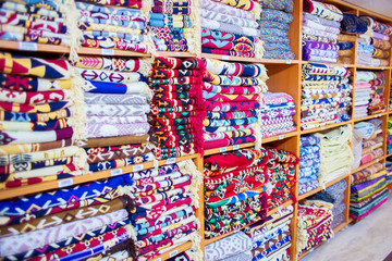 The Turkish cotton carpets are on sale in shop