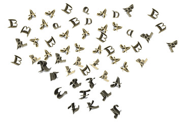Cutouts of flying letters.