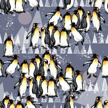 winter seamless background. penguin. Arctic pattern. Polar nature watercolor illustration. North wildlife. wild animal.
