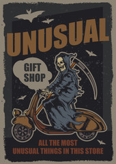 Original vector poster. Skeleton with a scythe riding a scooter. Poster design.