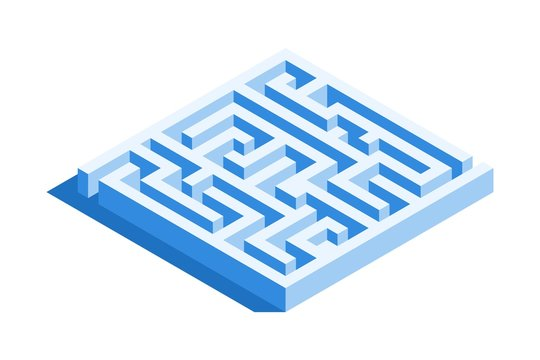 Labyrinth, square maze icon. Isometric template for web design in flat 3D style. Vector illustration.